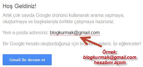 Gmail hesabı oluşturuldu