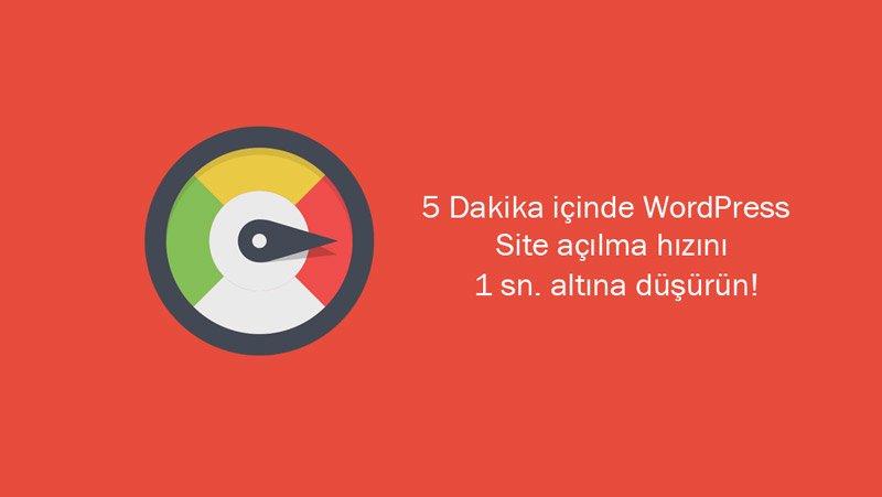 5 Dakikada WordPress Site Hızını Artırın