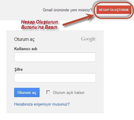 Gmailde hesap açmak resimli
