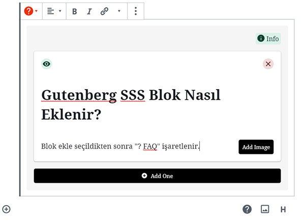 Gutenberg SSS eklenmesi 4. adım