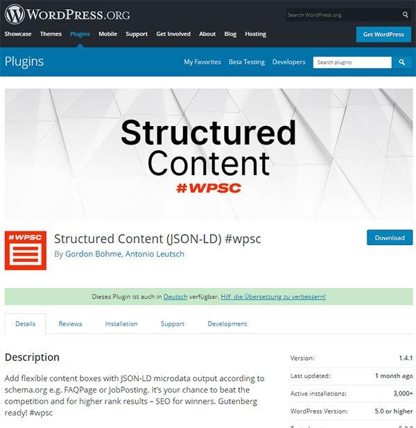 structured content WP sayfası
